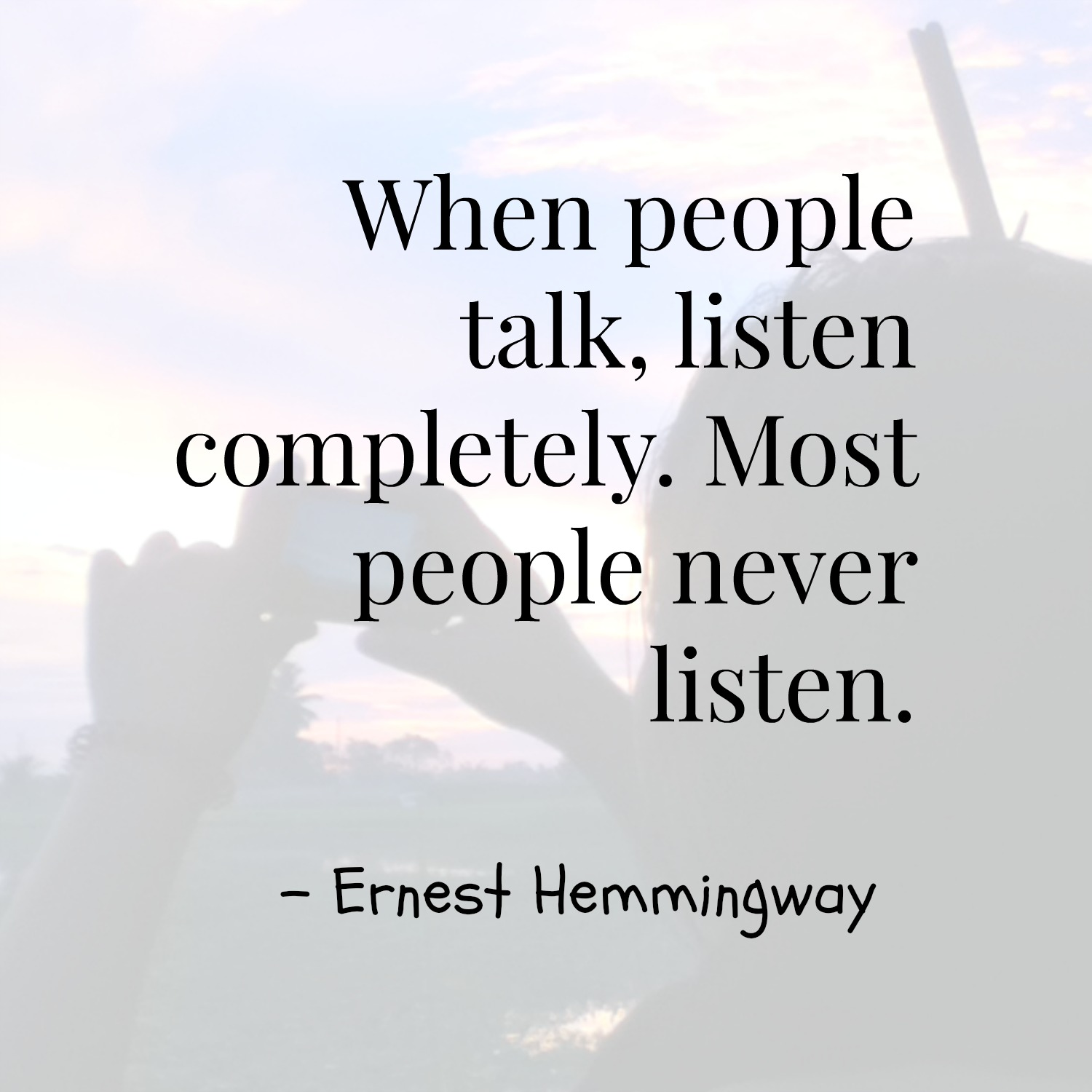 analysis of hemmingway s quote In the sea change by ernest hemingway we have the theme of  hemingway may be suggesting that the man's girlfriend's actions should also be considered  quote.
